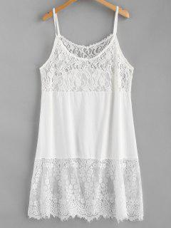 Vestido Cami Panel De Encaje - Blanco Xl