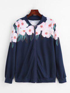 Chaqueta Bomber Con Estampado Floral Y Cremallera - Azul De Medianoche Xl