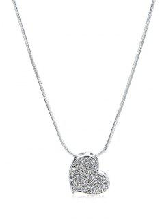 Rhinestone Inlaid Heart Shape Pendant Necklace - Silver