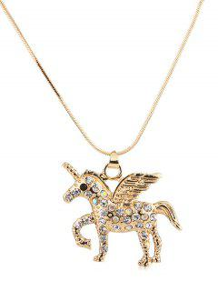 Faux Crystal Unicorn Design Sweater Chain - Gold
