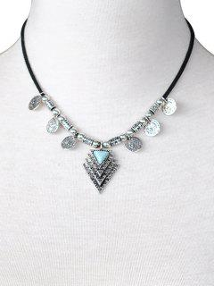 Triangle Coin Drop PU Leather Necklace - Silver