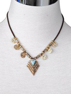 Triangle Coin Drop PU Leather Necklace - Gold