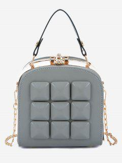 Rhomboid Printed Link Chain Crossbody Bag - Gray Cloud
