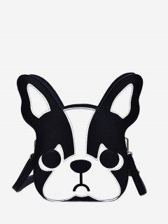 Dog Cartoon Printed Mini Crossbody Bag - Black