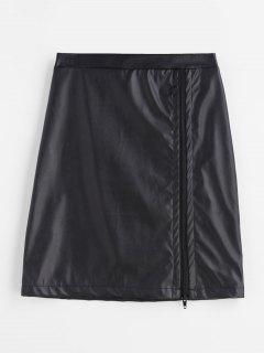 Falda Minifalda De Cuero Sintético Con Paneles De Encaje Transparente - Negro Xl