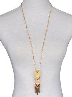 Tassel Design Geometric Sweater Chain - Gold