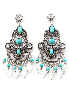 Geometric Faux Turquoise Tassel Earrings - Silver