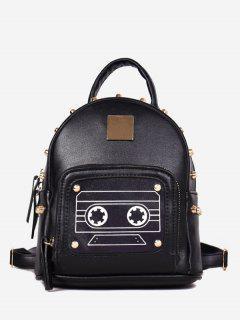 Robot Printed Rivet Mini Backpack - Black