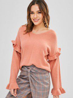 Pullover Rüschen Pullover Mit V-Ausschnitt - Orange Rosa