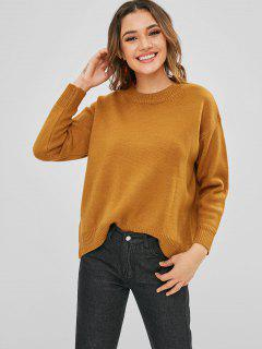 Drop Shoulder Oversized Knit Sweater - Light Brown