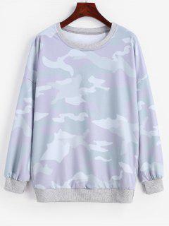 Camo Print Drop Shoulder Pullover Sweatshirt - Multi Xl