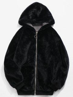 Faux Fur Hooded Jacket - Black L