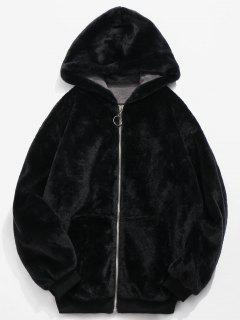 Faux Fur Hooded Jacket - Black M