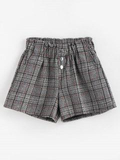 High Waisted Plaid Buttoned Shorts - Black