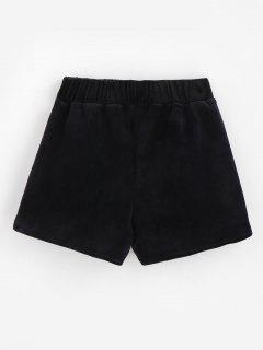 Bolsillos De Terciopelo Pantalones Cortos - Negro M