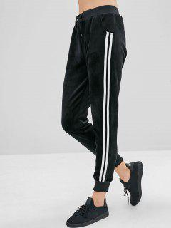 Side Tape Velvet Joggers Pants - Black Xl