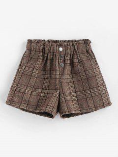 Short Taille Haute à Carreaux - Marron Foncé