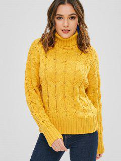 Jersey De Punto Liso Con Cuello Alto De Cuello Alto - Amarillo Brillante