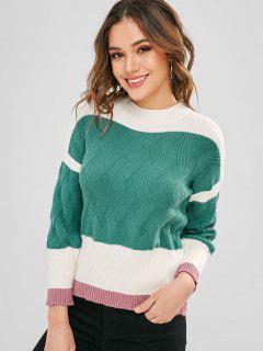 Suéter Tipo Jersey De Contraste Con Cuello Redondo - Verde De Tortuga Marina