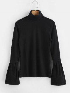 Blusa De Punto Con Cuello Alto - Negro L