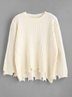 Recortar Suéter De Alta Baja Deshilachada - Beige