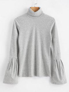 Blusa De Punto Con Cuello Alto - Gris Claro M
