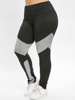 Color Block Plus Size Sport Leggings - Black 3x