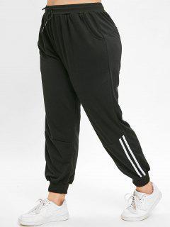 Pantalon De Jogging Grande Taille Avec Cordon - Noir 1x