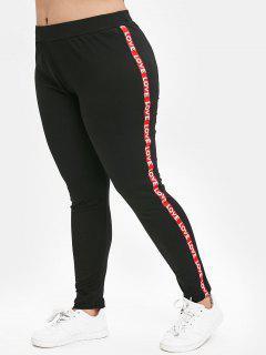 Letter Trim Plus Size Skinny Pants - Black 2x