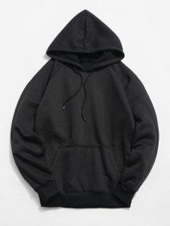 Basic Solid Pouch Pocket Fleece Hoodie - Black Xl