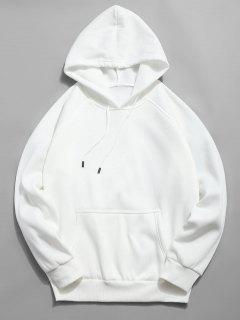 Basic Solid Pouch Pocket Fleece Hoodie - White Xl