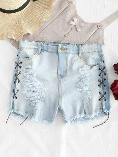 Destroyed Lace Up Denim Shorts - Jeans Blue L