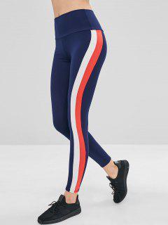 High Waisted Stripes Leggings - Cadetblue M