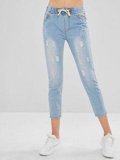 Distressed Drawstring Straight Jeans - Jeans Blue L