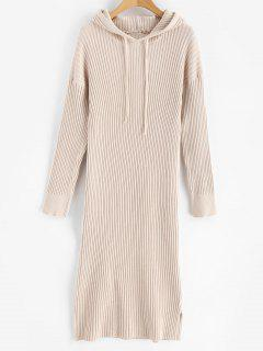 Side Split Hooded Knitted Dress - Blanched Almond