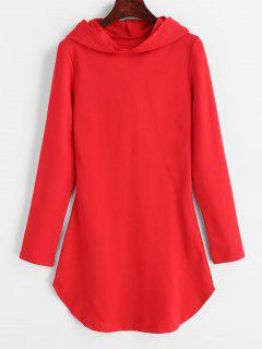 Hooded Bodycon Dress - Red