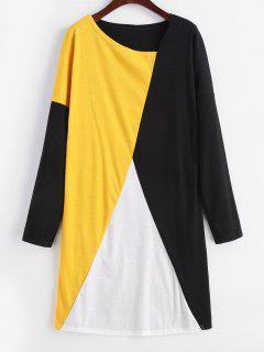 Vestido De Manga Larga Color Block Camiseta - Multicolor M