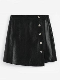 Button Embellished Faux Leather Mini Skirt - Black S
