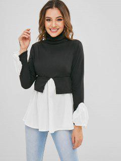 Turtleneck Two Tone Skirted Top - Black M