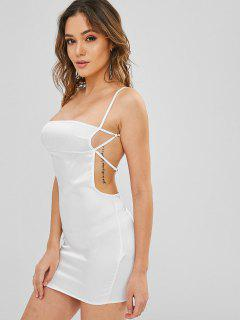 Backless Satin Slip Dress - White M
