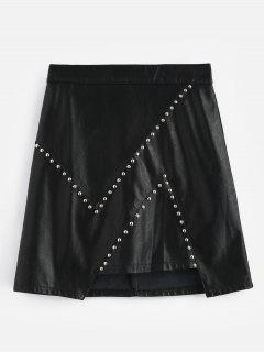 Mini Jupe En Cuir Imitation Perles - Noir M