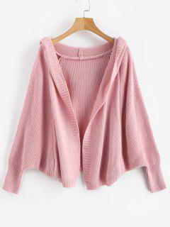 Batwing Sleeve Hooded Cardigan - Pink