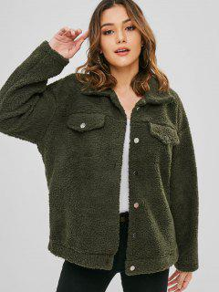 Fluffy Snap Button Faux Shearling Coat - Army Green M
