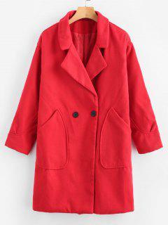 Longline Lapel Pocket Coat - Red L