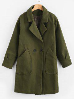 Manteau Long Avec Poche à Col Revers - Vert Fougère M