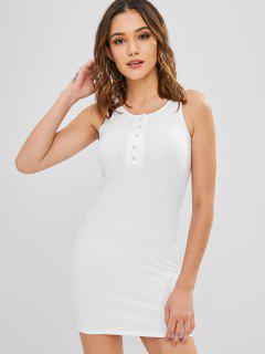 Vestido Ajustado Con Botones A Presión - Blanco