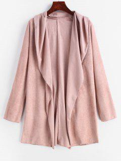 Belted Faux Suede Wrap Coat - Lipstick Pink L