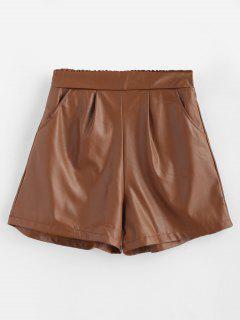 Short Taille Haute Avec Poches En Cuir PU - Brun Xl