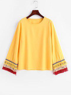 Blusa Casual Con Flecos - Marrón Dorado M