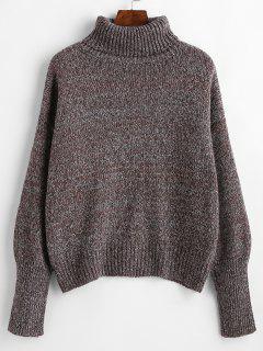 Drop Shoulder Turtleneck Heathered Sweater - Multi